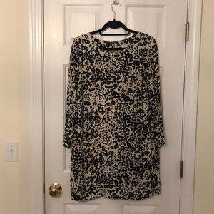 J Crew Animal print shift dress with pockets